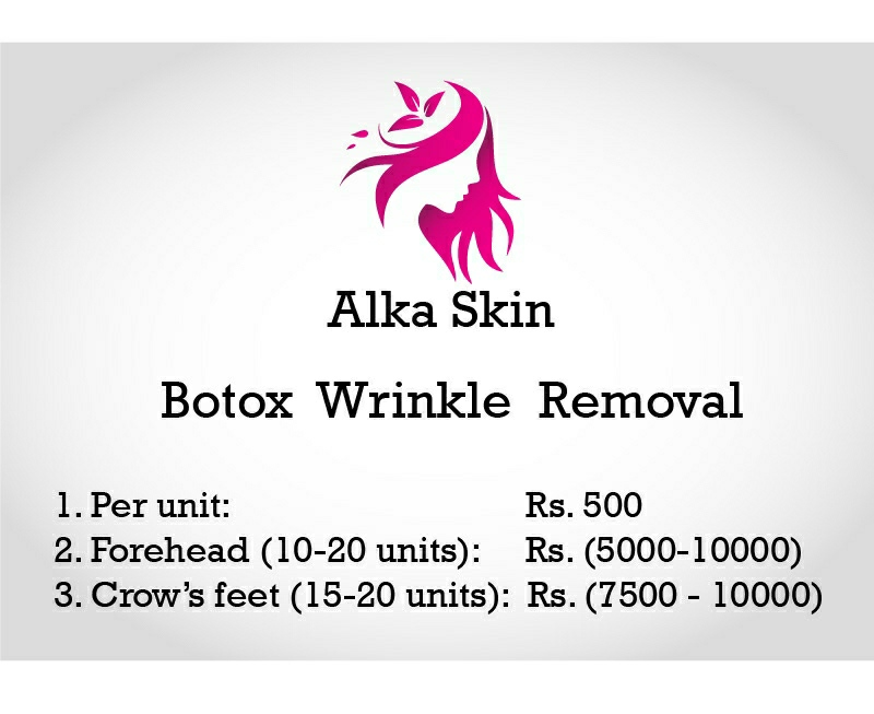 Price quotation for botox treatment for wrinkle removal at Alka Skin and Dermatology.